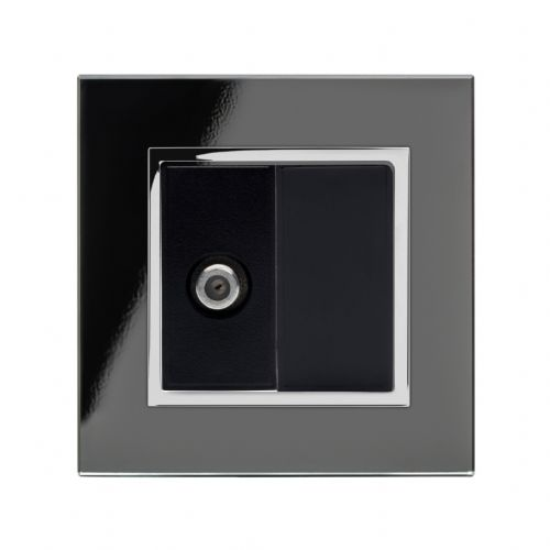 RetroTouch Single Satellite Socket Black Glass CT 04841